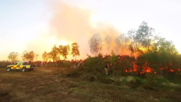 Farmers help fire fighters during devastating blaze at Thursley Common